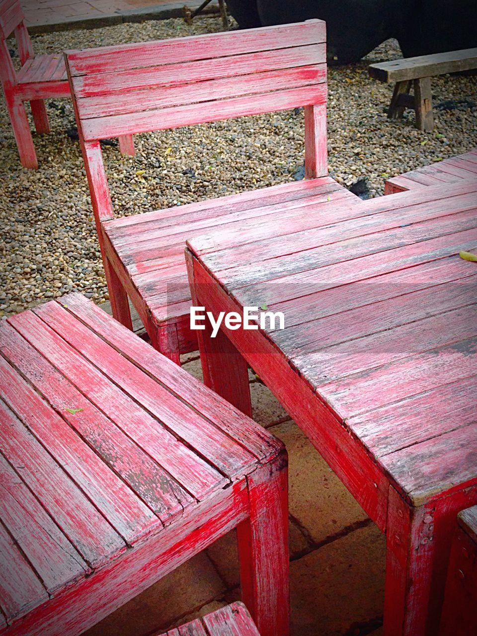 chair, no people, red, wood - material, outdoors, day, seat, nature