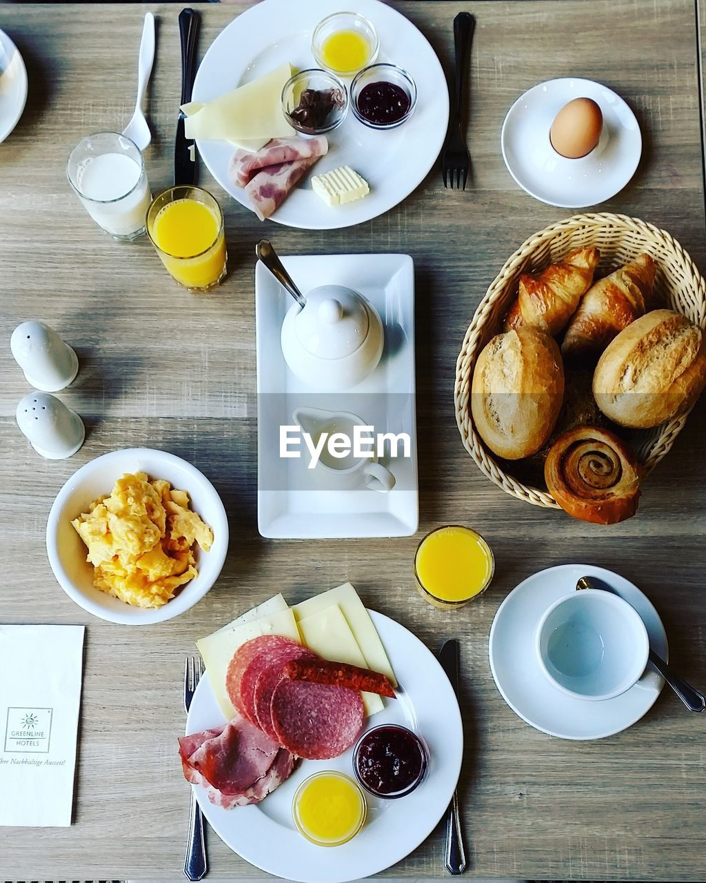 food and drink, food, table, freshness, plate, drink, meal, healthy eating, cup, bread, breakfast, high angle view, ready-to-eat, refreshment, coffee, croissant, directly above, fruit, bowl, serving size, no people, french food, glass, baked pastry item, teapot