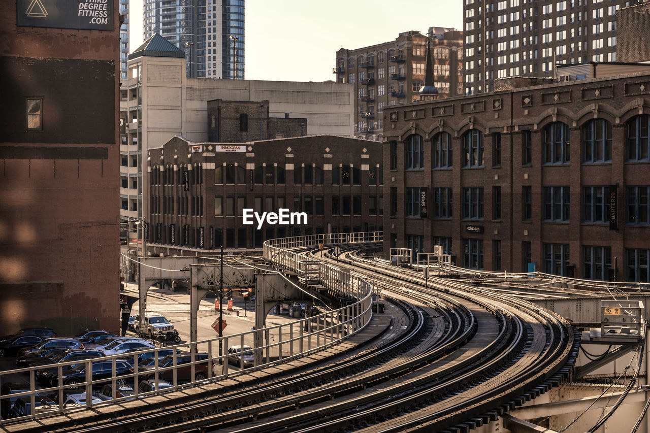 Elevated Tracks Along Built Structures