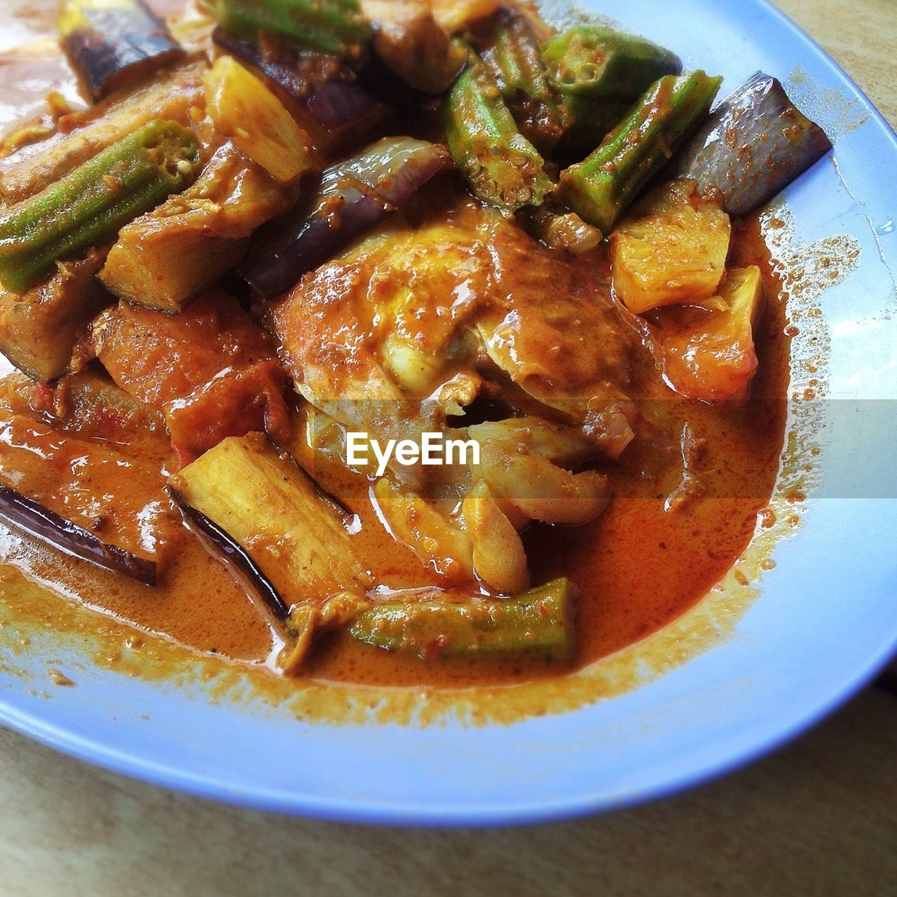 Close-up of stewed vegetables with sauce