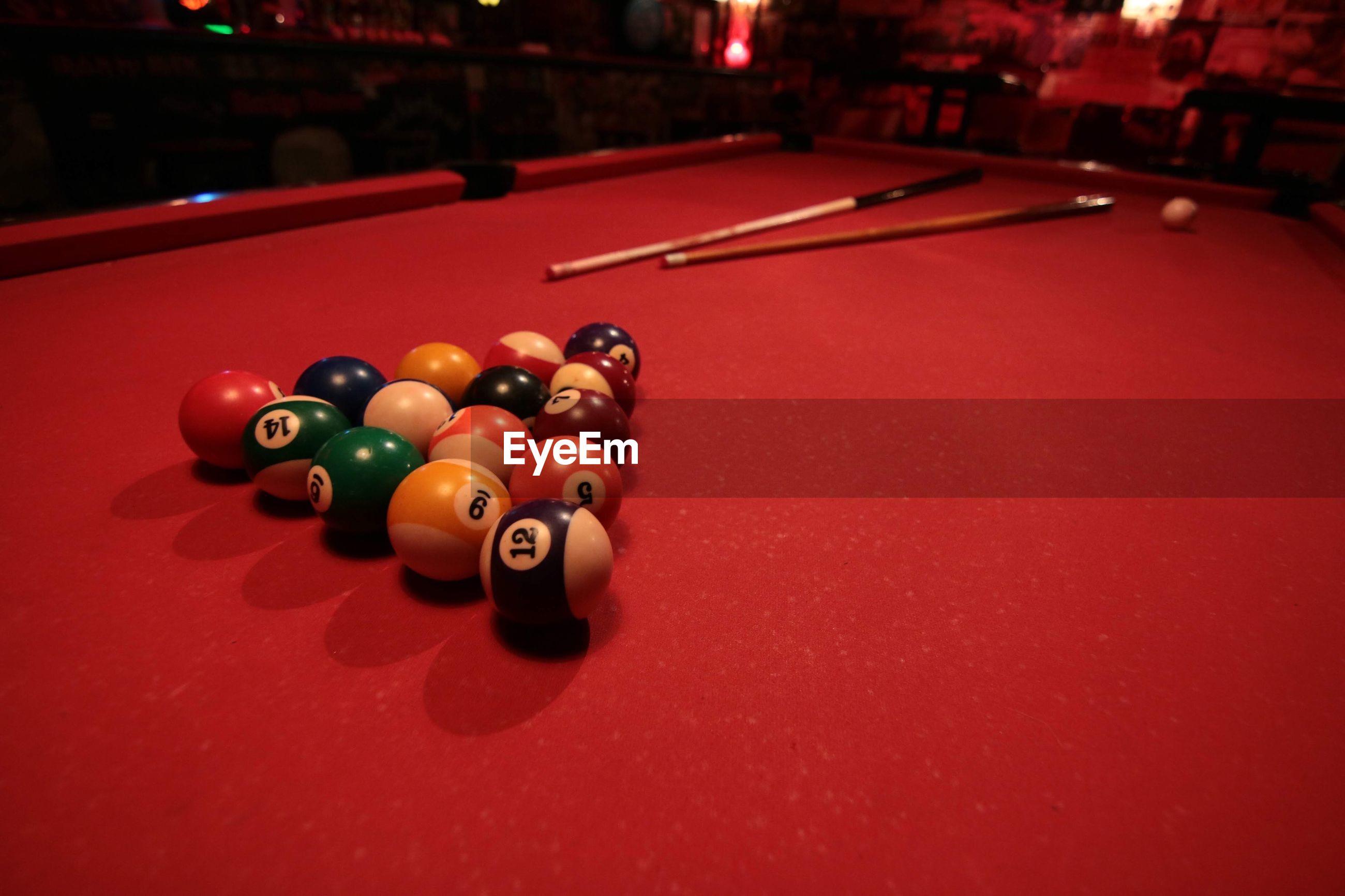 High angle view of pool balls on table