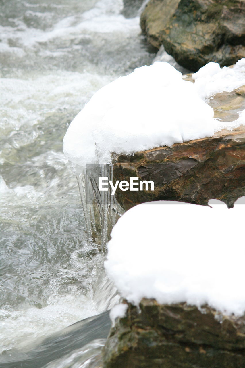 nature, water, white color, cold temperature, winter, day, beauty in nature, outdoors, snow, motion, ice, no people, frozen, close-up