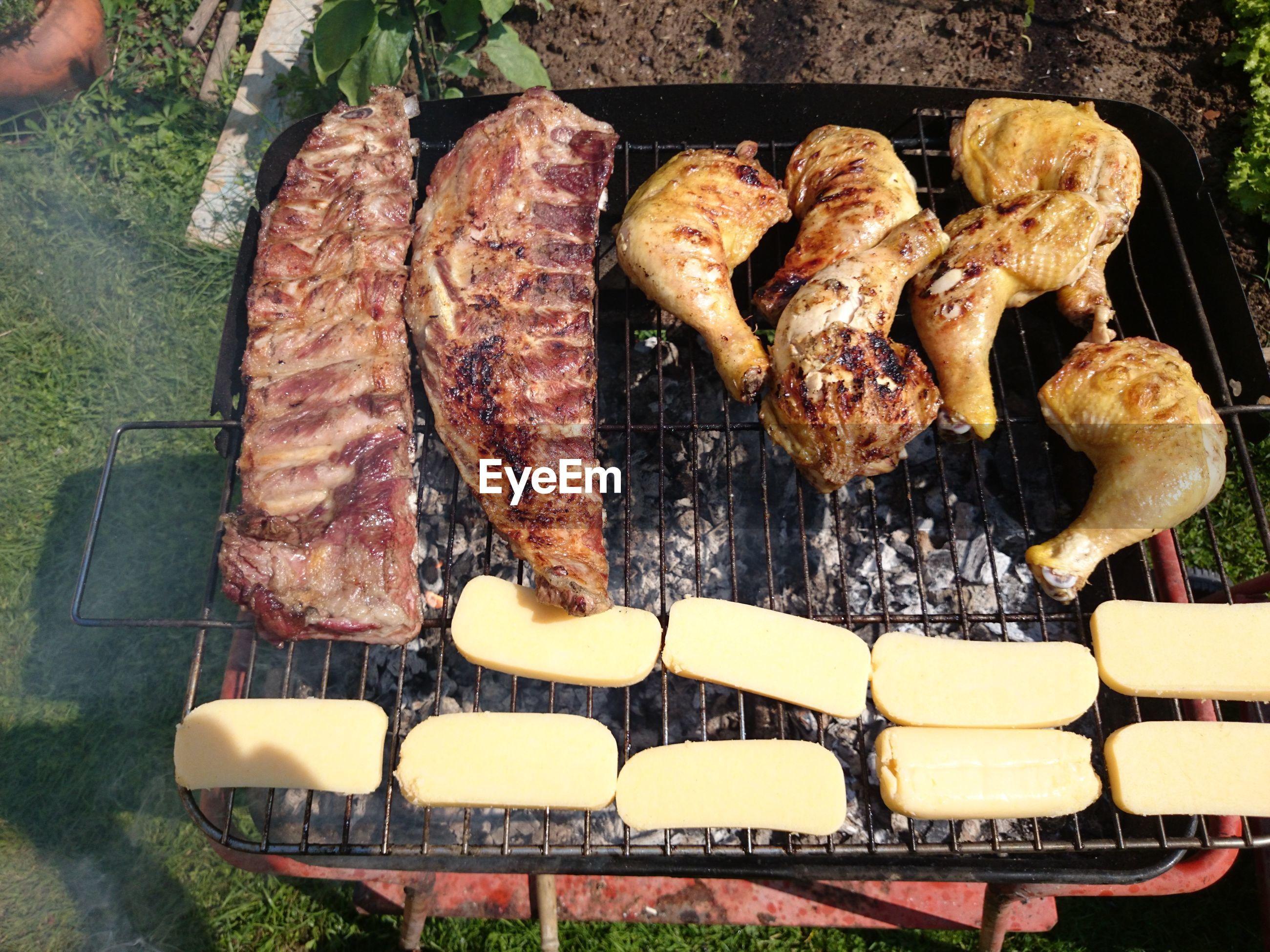 Meat on barbeque grill