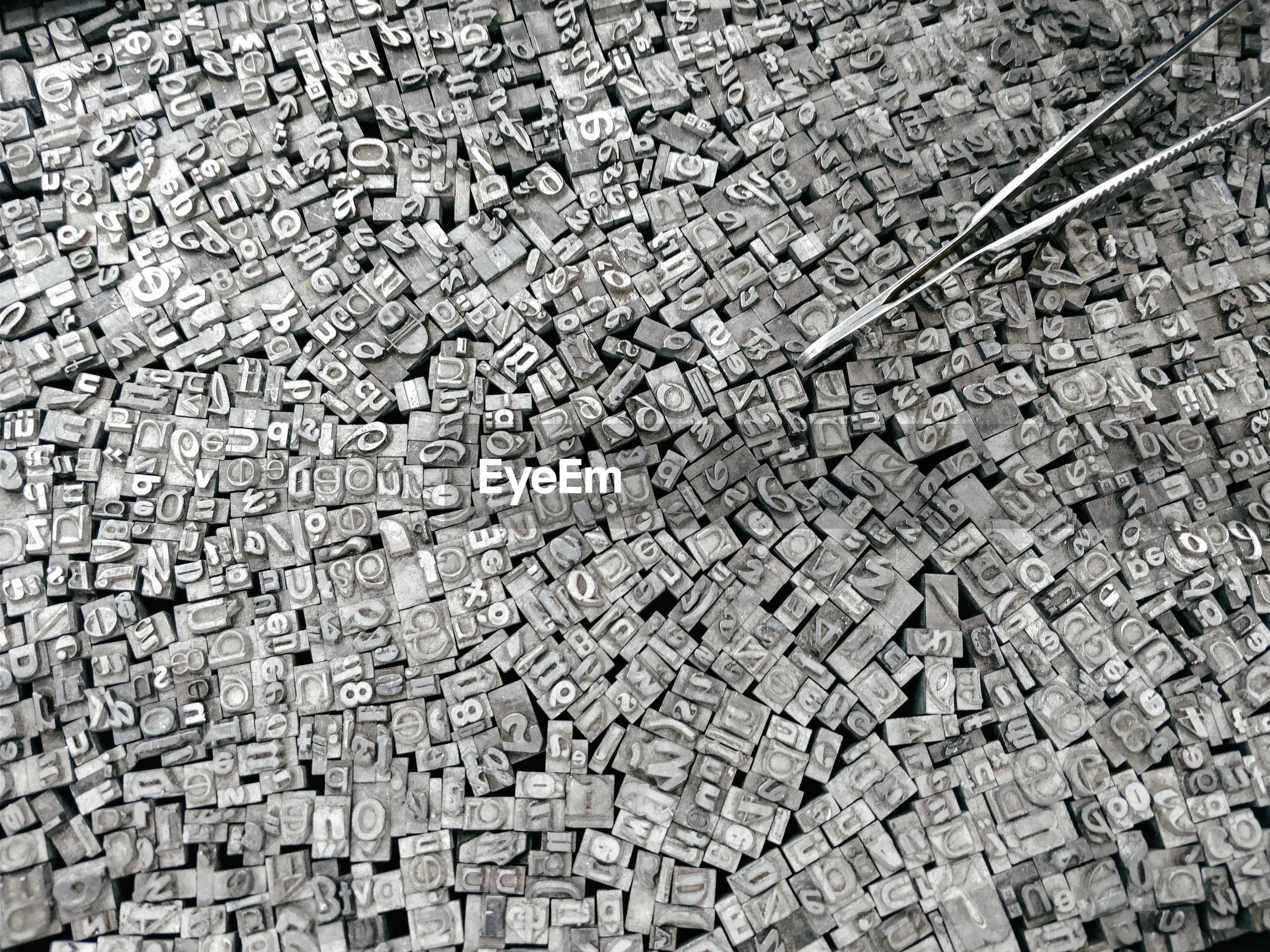 Full frame shot of alphabets on wooden blocks