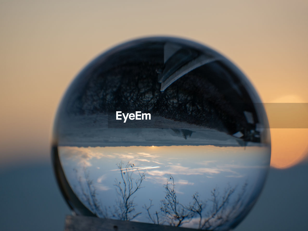 close-up, sunset, nature, reflection, transparent, glass - material, no people, sky, focus on foreground, sphere, orange color, still life, outdoors, scenics - nature, tree, beauty in nature, crystal ball, drink, refreshment, glass