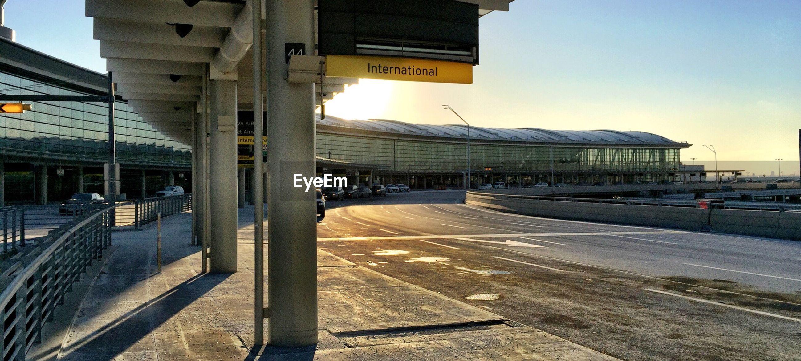Airport runway at sunset
