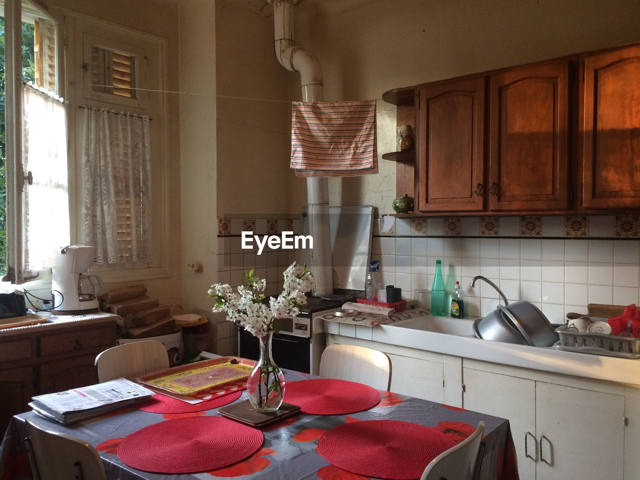 Dinning table in kitchen at home