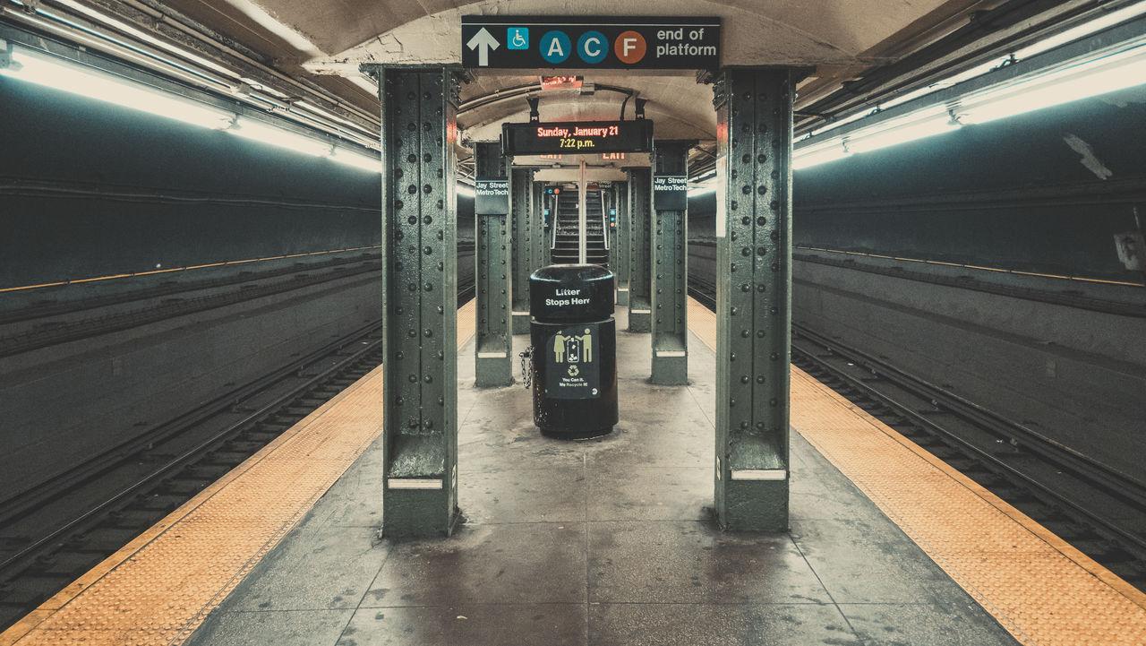 Illuminated Subway Station Platform