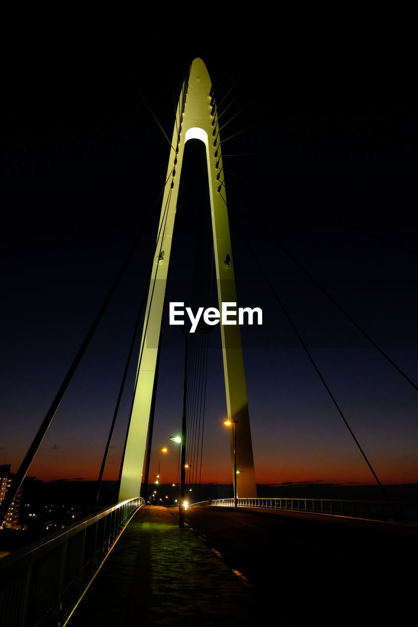 transportation, bridge, sky, bridge - man made structure, connection, engineering, built structure, road, the way forward, architecture, nature, suspension bridge, illuminated, sunset, night, direction, motor vehicle, car, cable-stayed bridge, outdoors