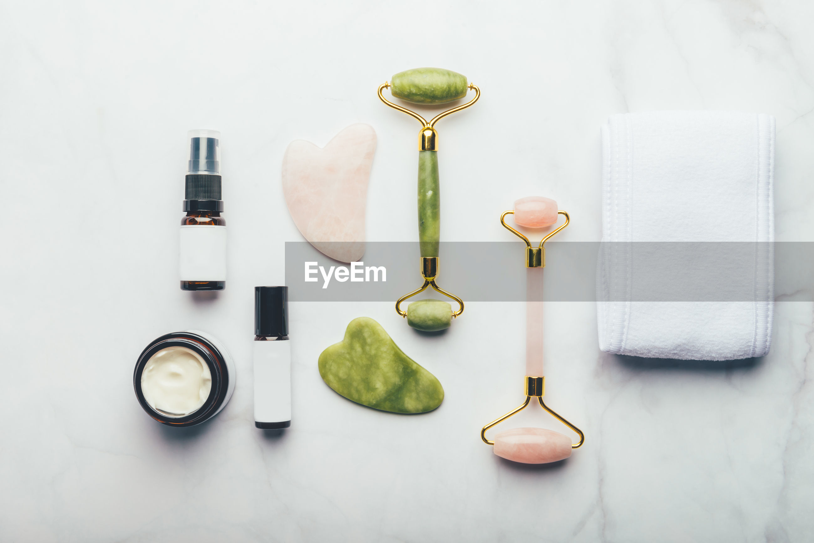 Directly above shot of beauty accessory on white background