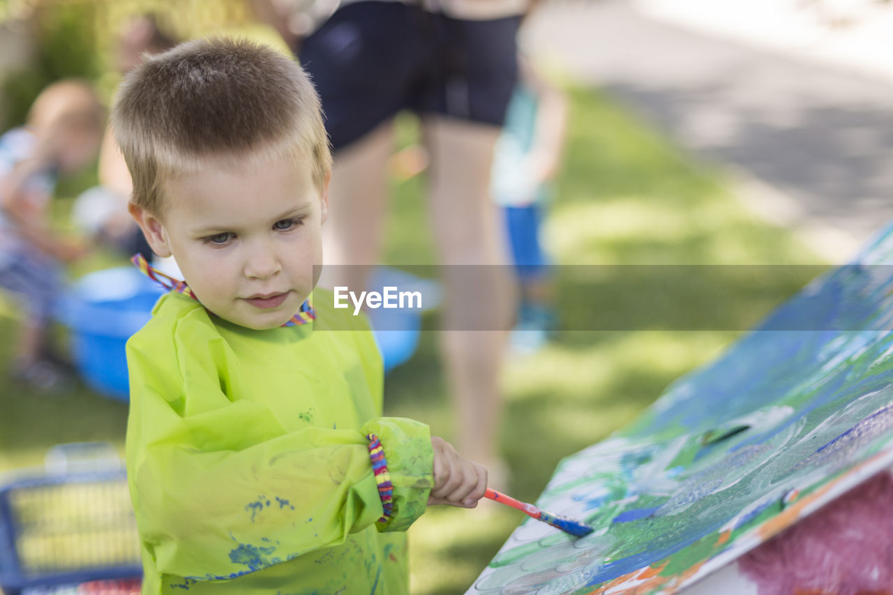 Close-Up Of Boy Painting