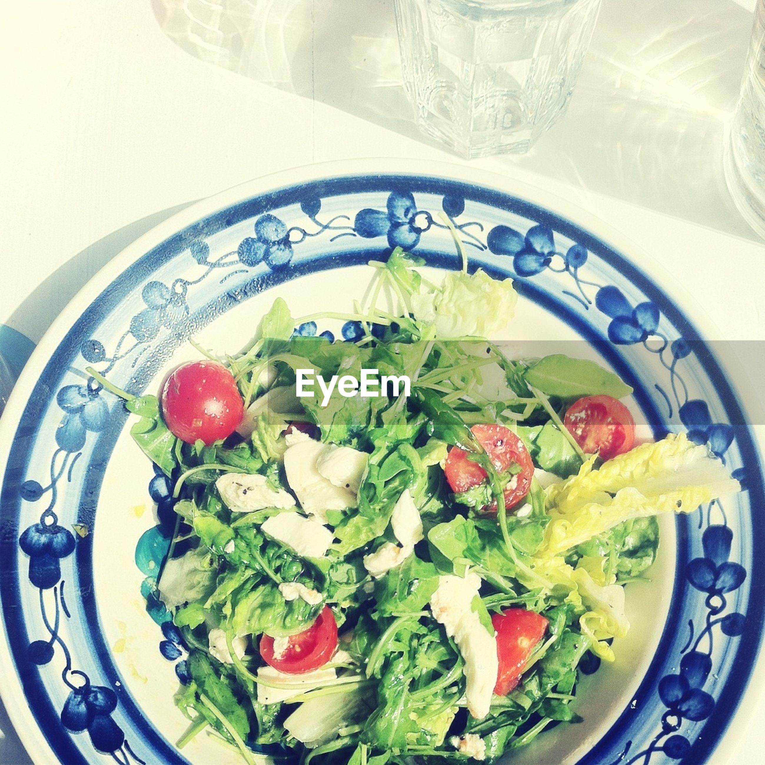 Overhead view of salad