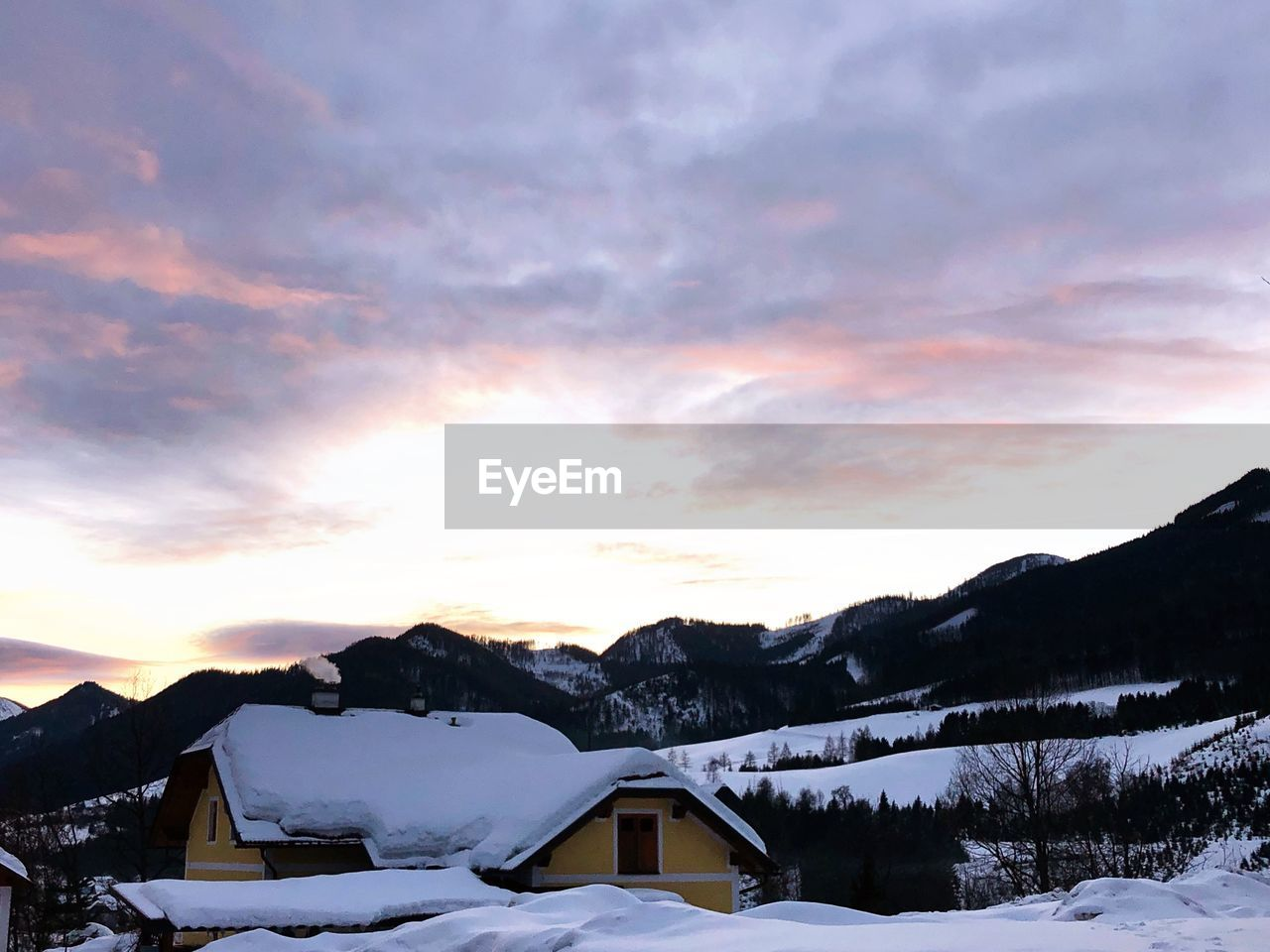 sky, winter, cold temperature, snow, cloud - sky, beauty in nature, scenics - nature, sunset, tranquil scene, tranquility, mountain, environment, nature, non-urban scene, no people, mountain range, landscape, orange color, idyllic, snowcapped mountain