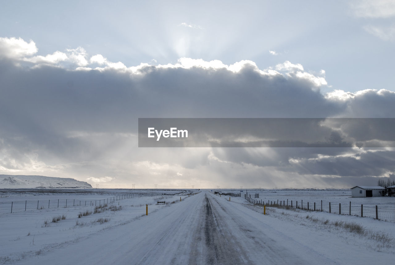 Panoramic View Of Road Against Sky During Winter