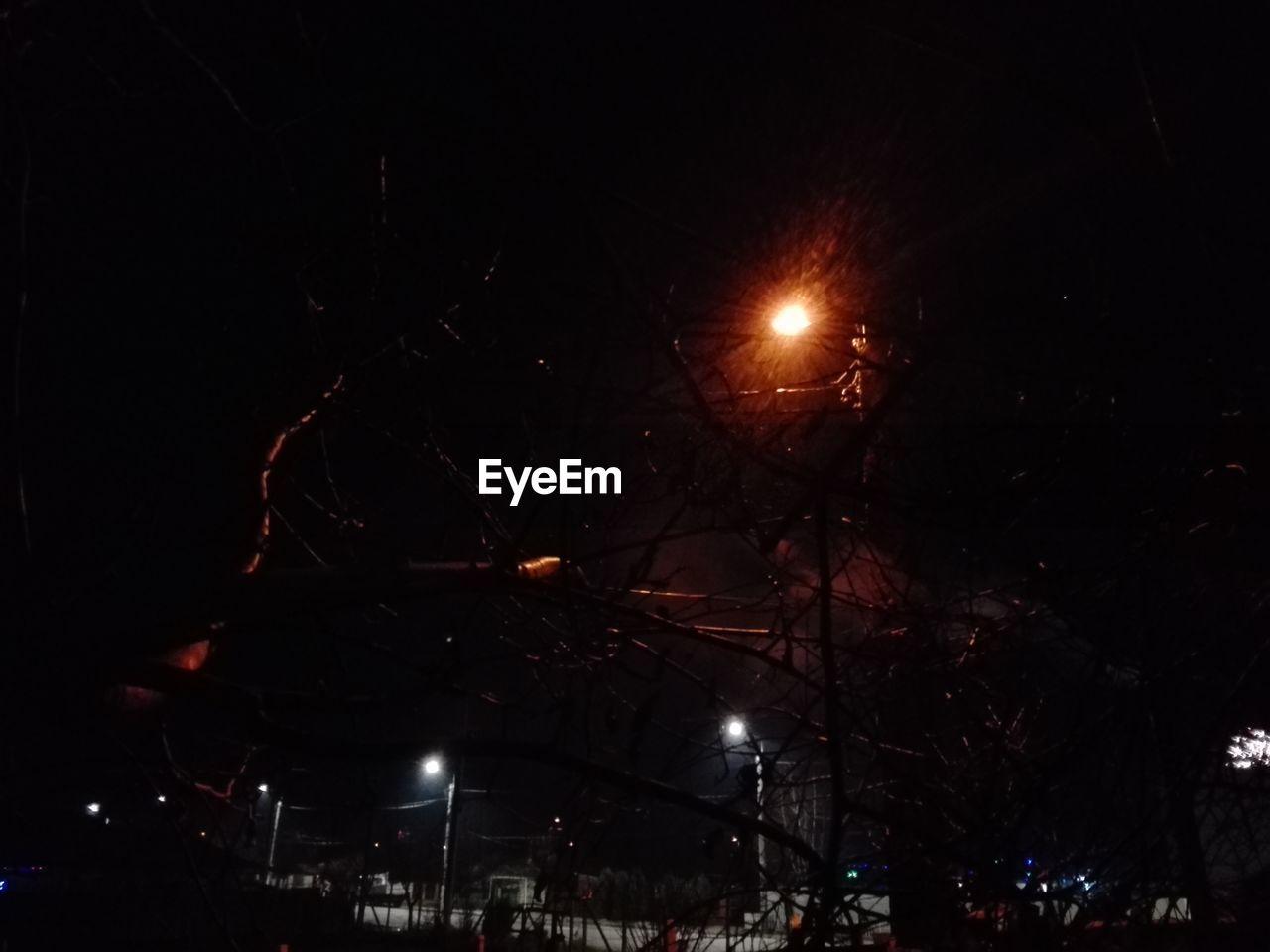 night, illuminated, street light, lighting equipment, low angle view, no people, outdoors, moon, tree, sky, city
