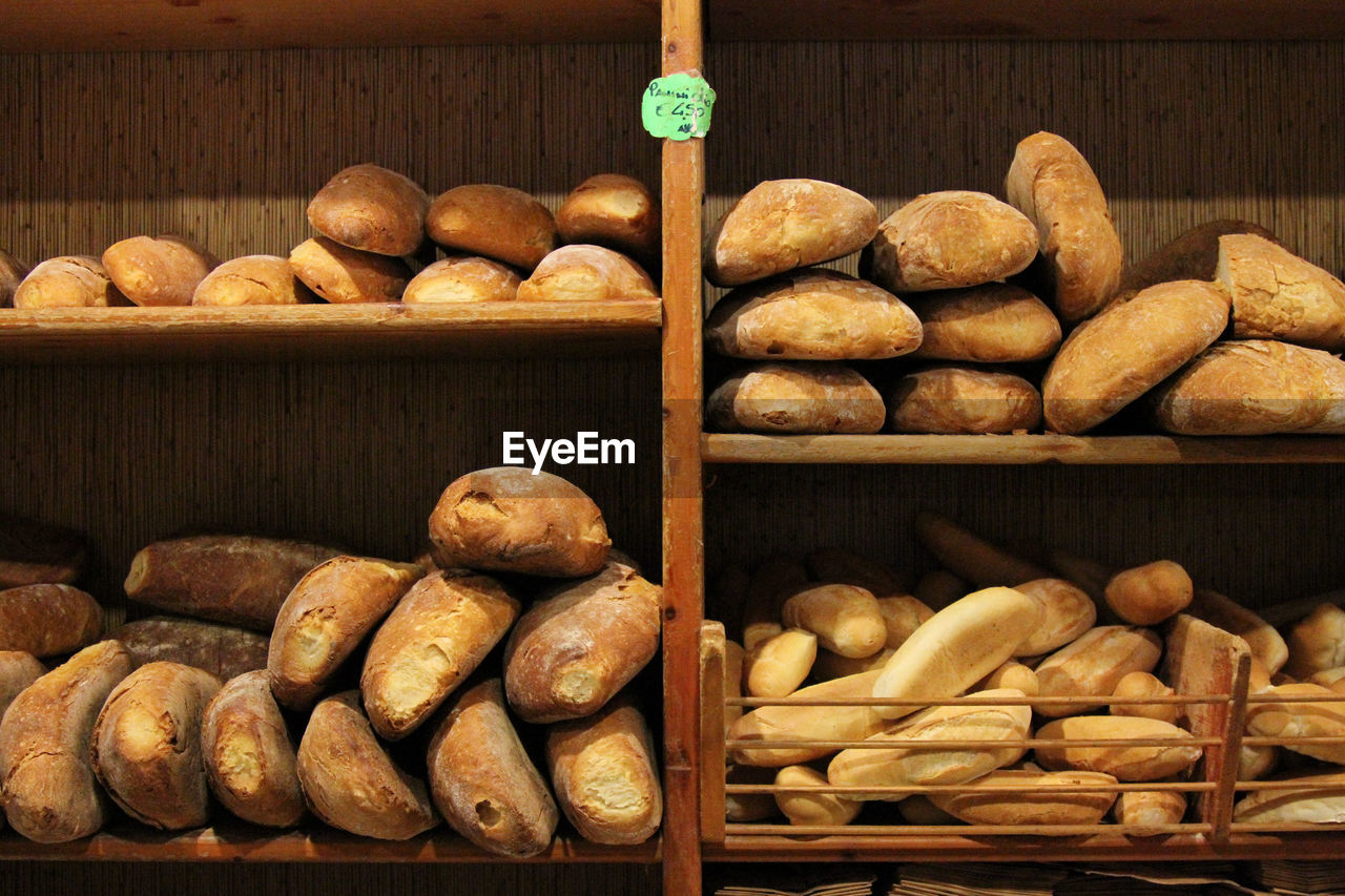 Close-up of breads for sale