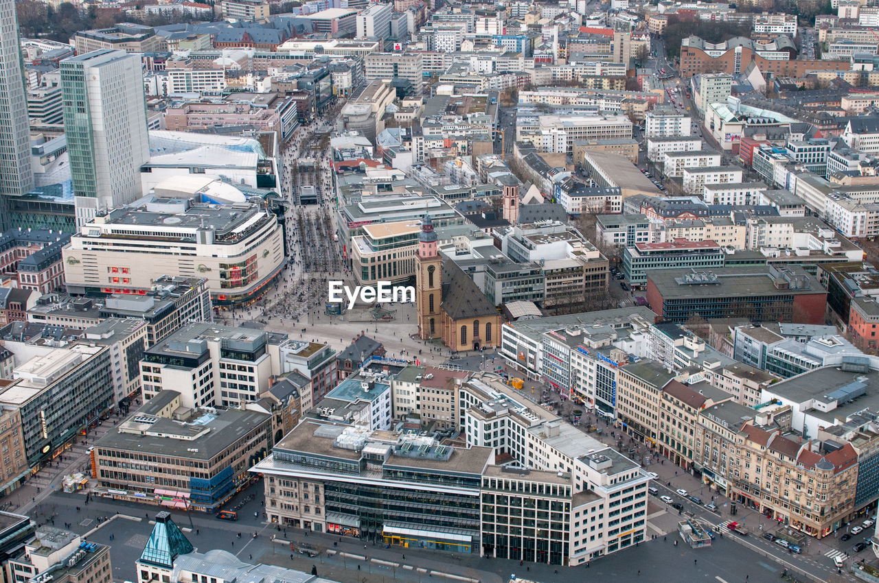 High angle view of frankfurt city in germany