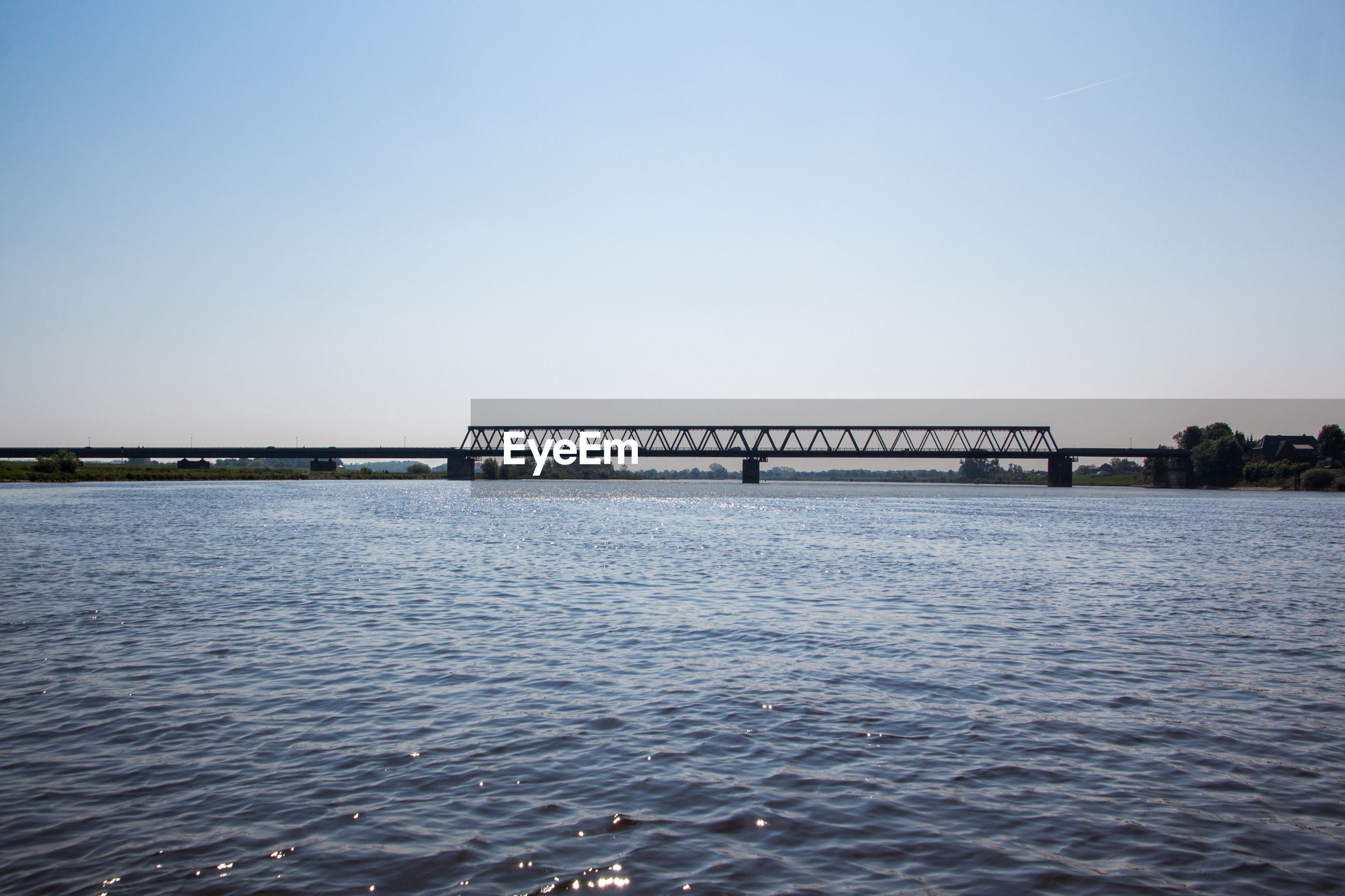 SCENIC VIEW OF BRIDGE OVER RIVER AGAINST CLEAR SKY