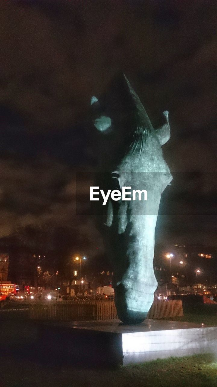 night, illuminated, statue, water, sculpture, outdoors, no people, sky, architecture, nature, built structure, building exterior, city, beauty in nature