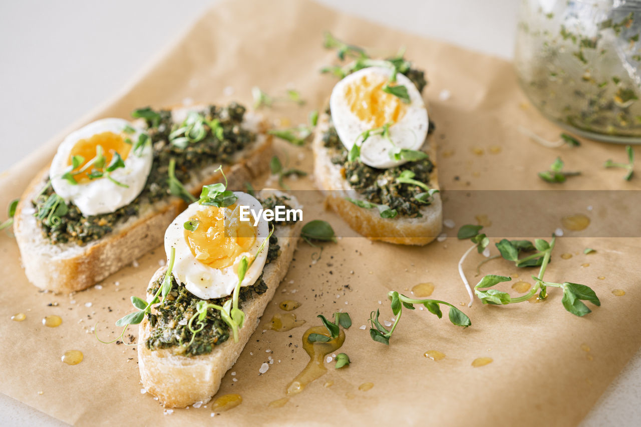 Egg and green pesto sandwiches.