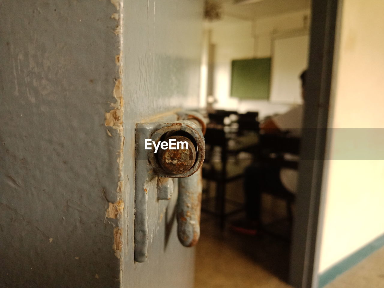 entrance, door, metal, indoors, no people, safety, focus on foreground, protection, lock, architecture, close-up, security, old, open, day, selective focus, doorknob, rusty, building, wood - material