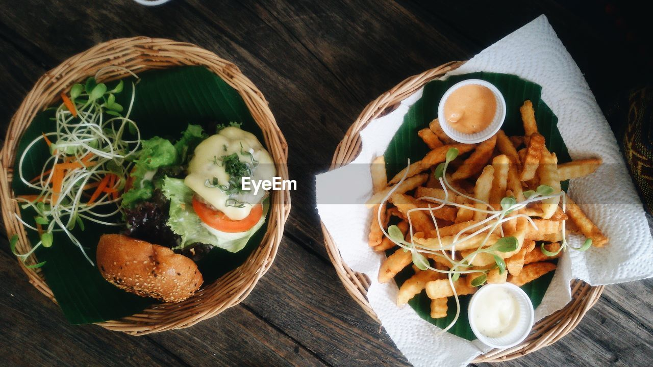 food and drink, freshness, table, food, no people, high angle view, indoors, wood - material, ready-to-eat, healthy eating, close-up, day