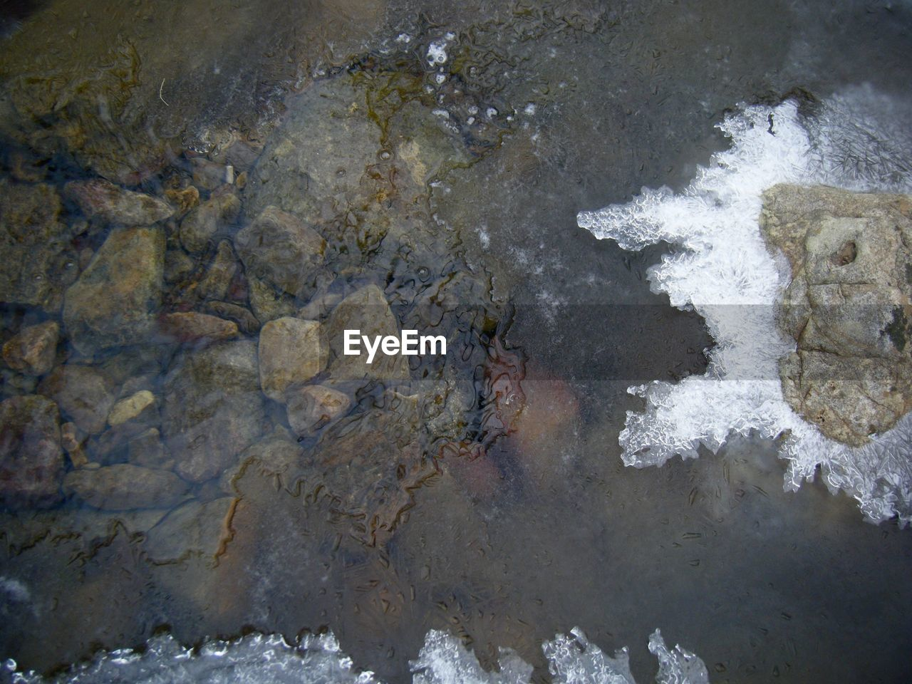 water, day, high angle view, outdoors, no people, nature, oil spill, close-up