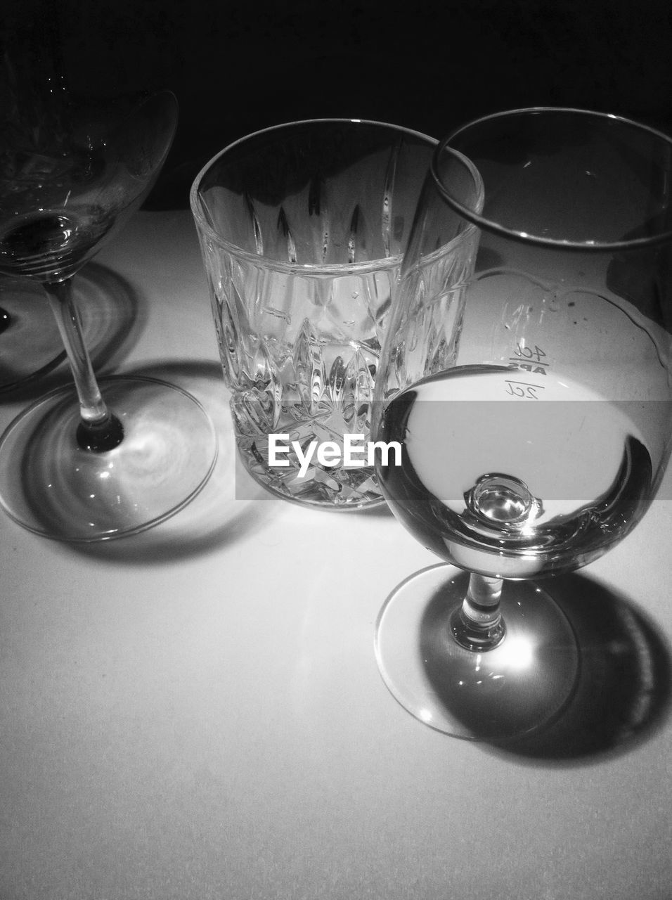 High angle view of wineglass on table