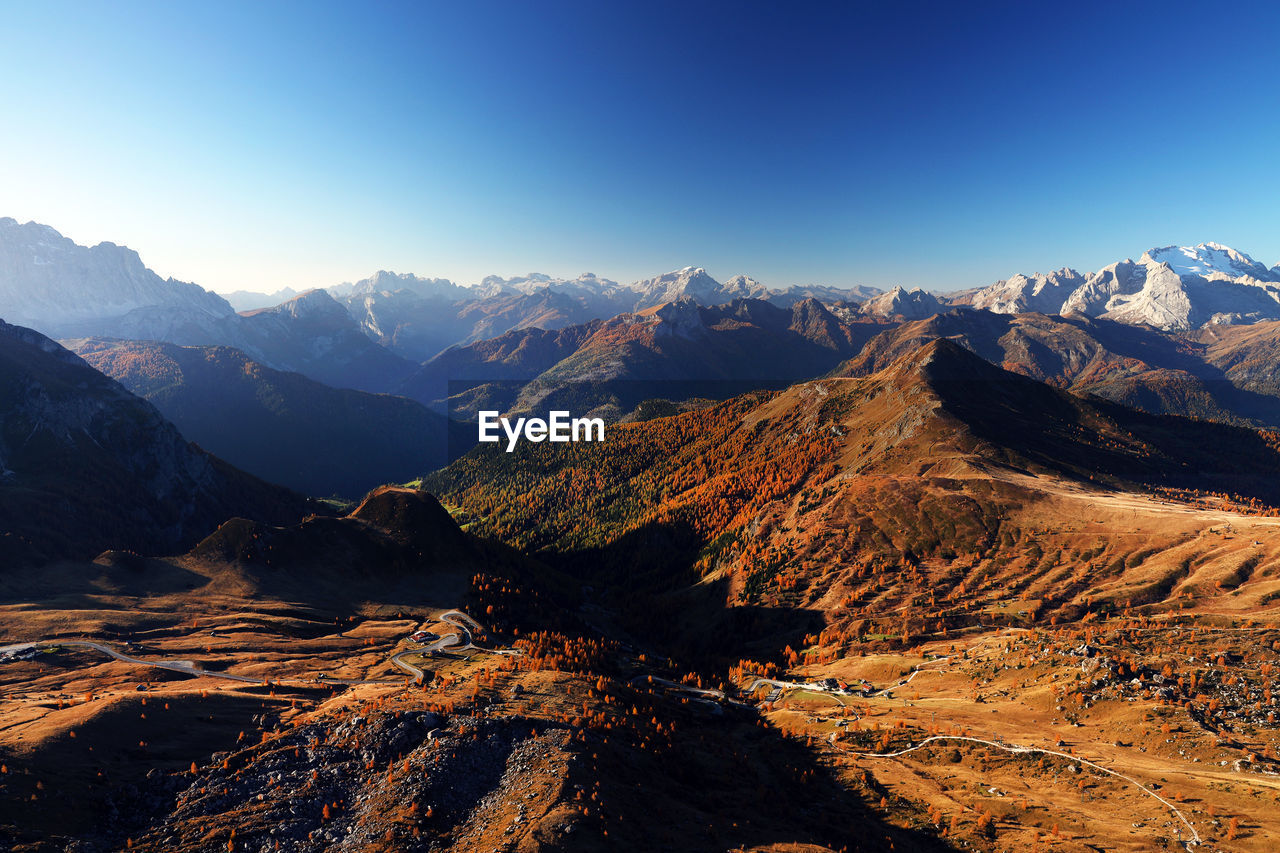 Aerial view of dramatic landscape against clear sky