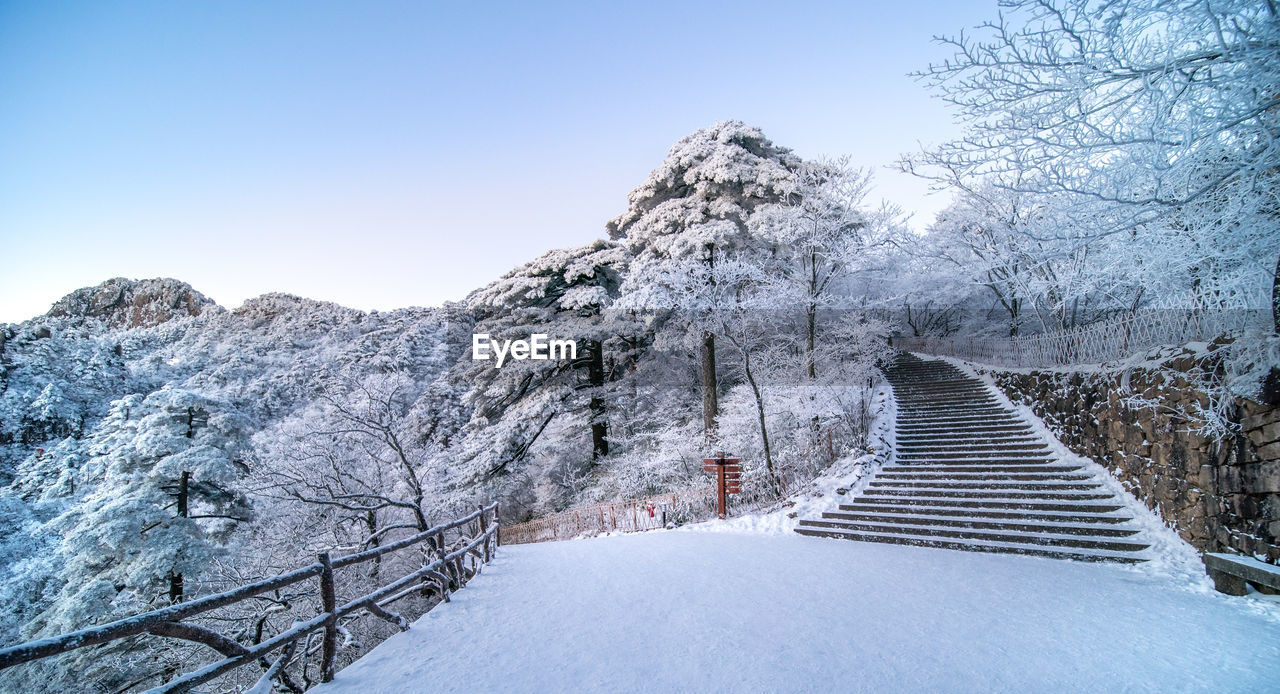 cold temperature, snow, winter, sky, beauty in nature, scenics - nature, mountain, nature, clear sky, the way forward, tranquility, tranquil scene, day, white color, direction, no people, covering, tree, architecture, outdoors, snowcapped mountain, footbridge, extreme weather
