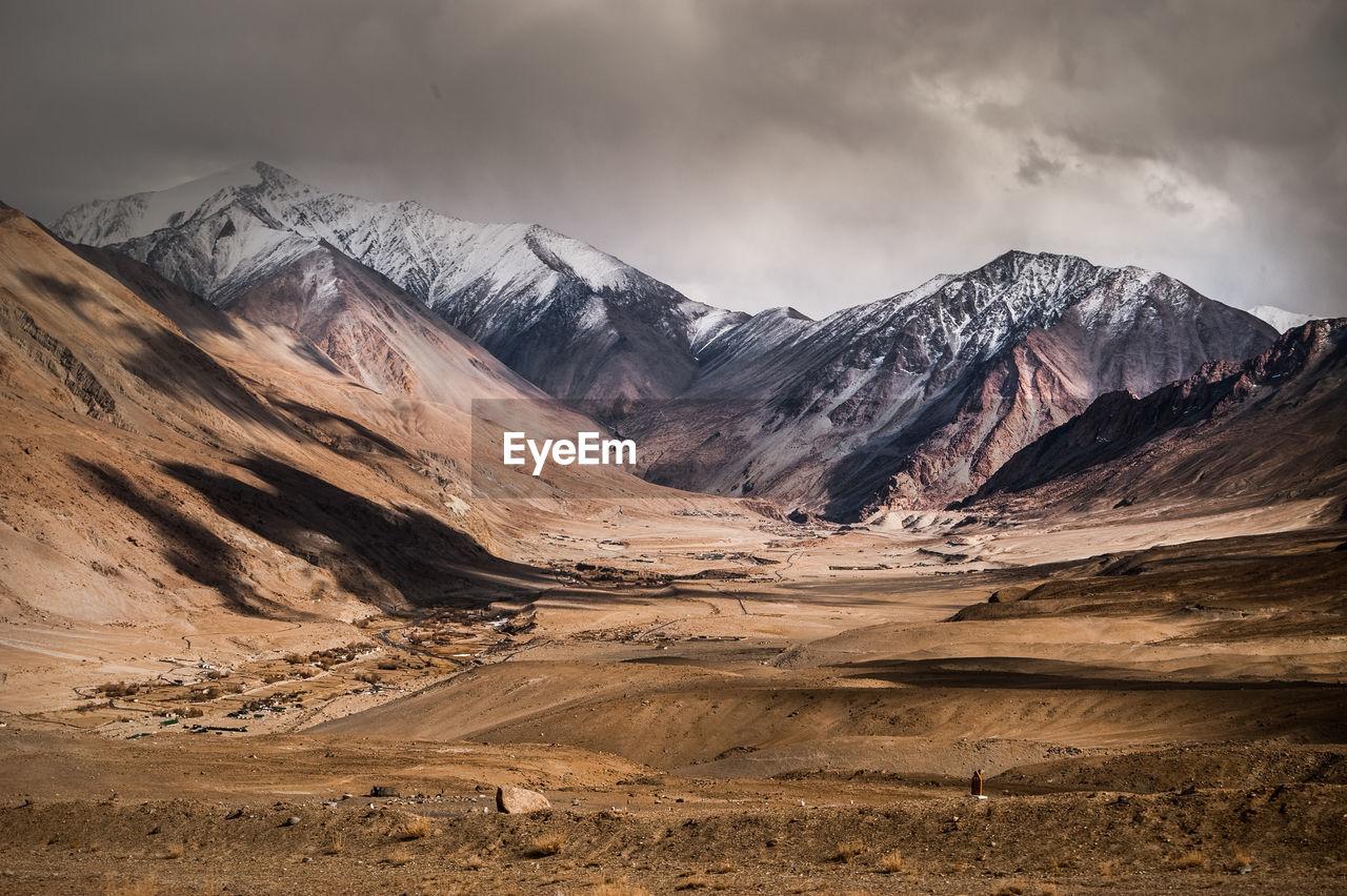 Barren landscape against the sky