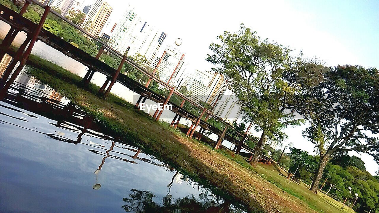 tree, day, architecture, built structure, sky, park - man made space, grass, no people, outdoors, building exterior, nature, water