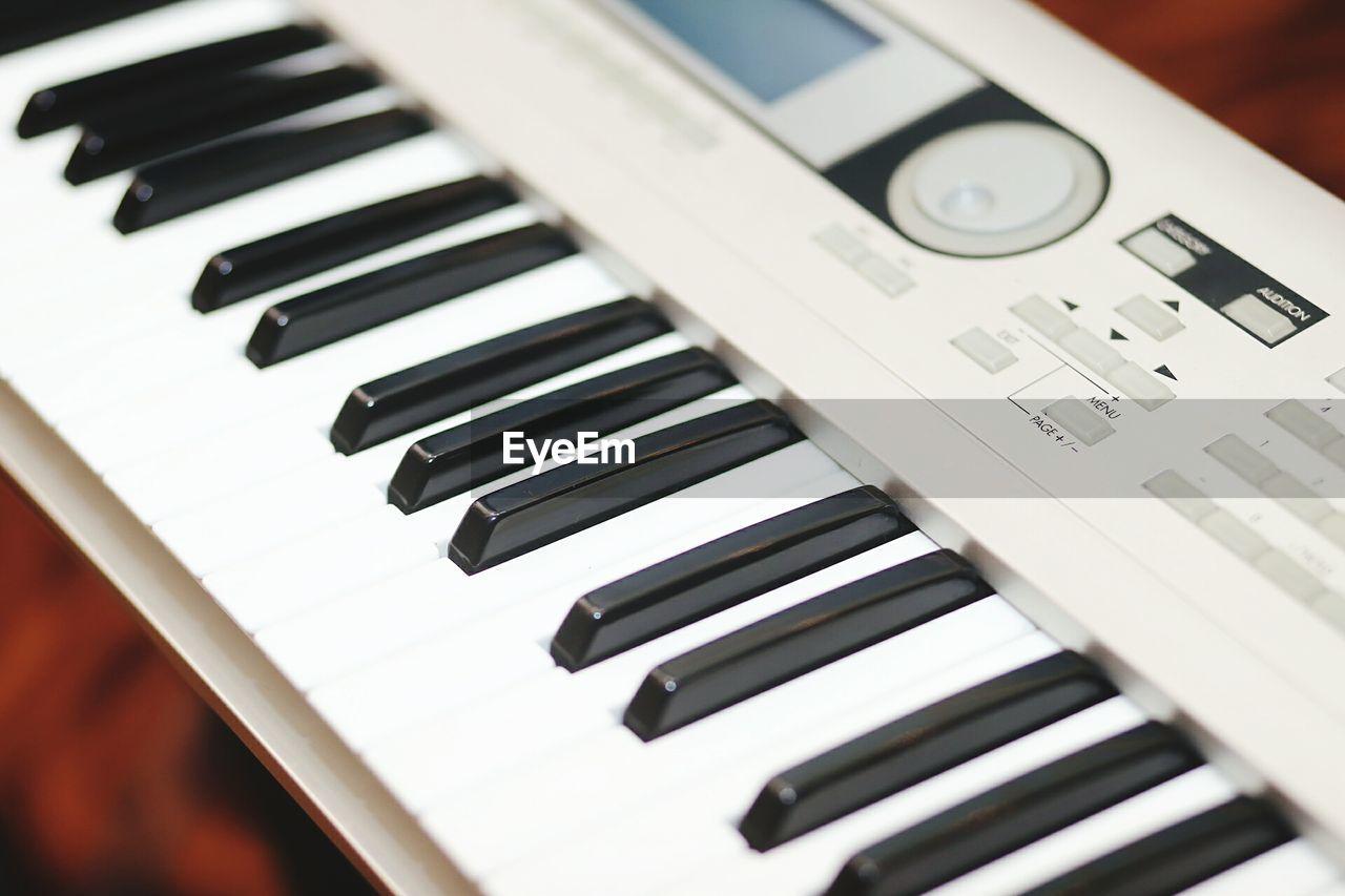 Close-up high angle view of piano keys