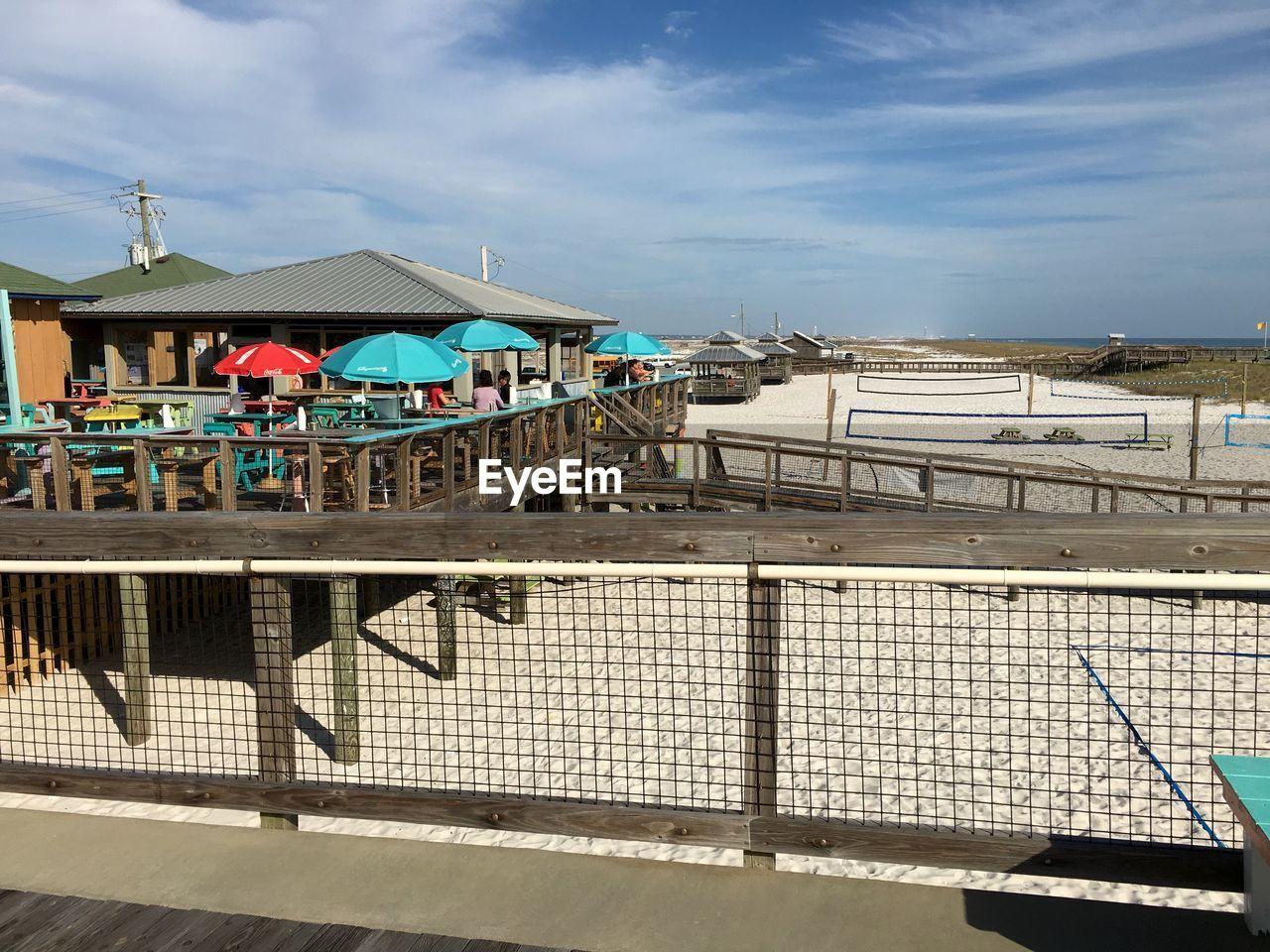Restaurants at beach against sky
