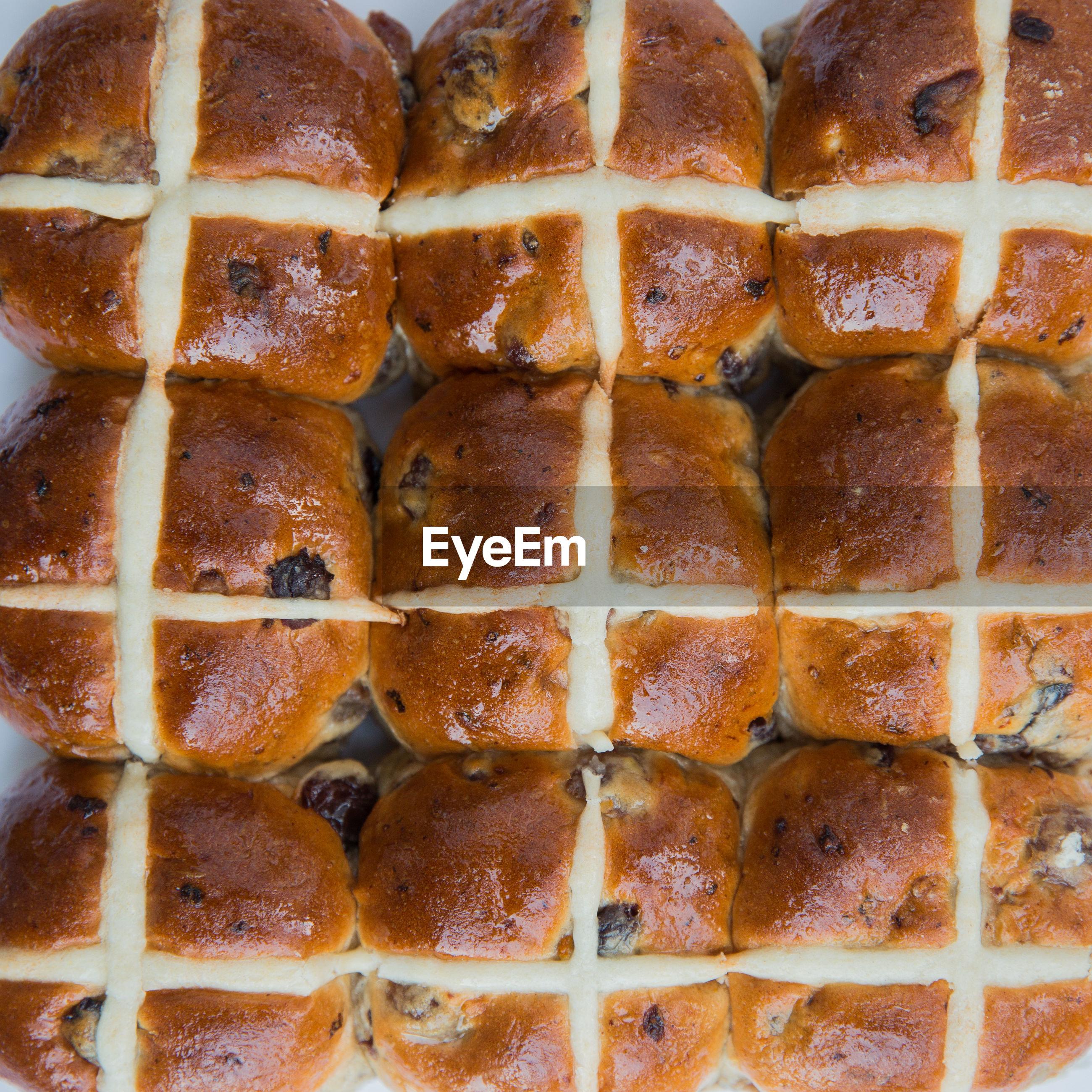 Full frame shot of breads arranged on table