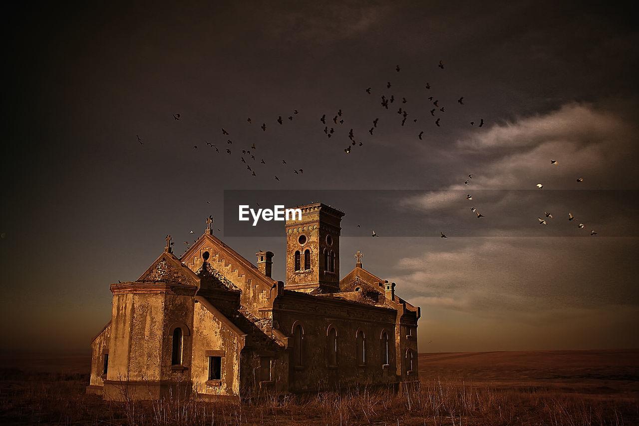 Historic church against sky at colelia