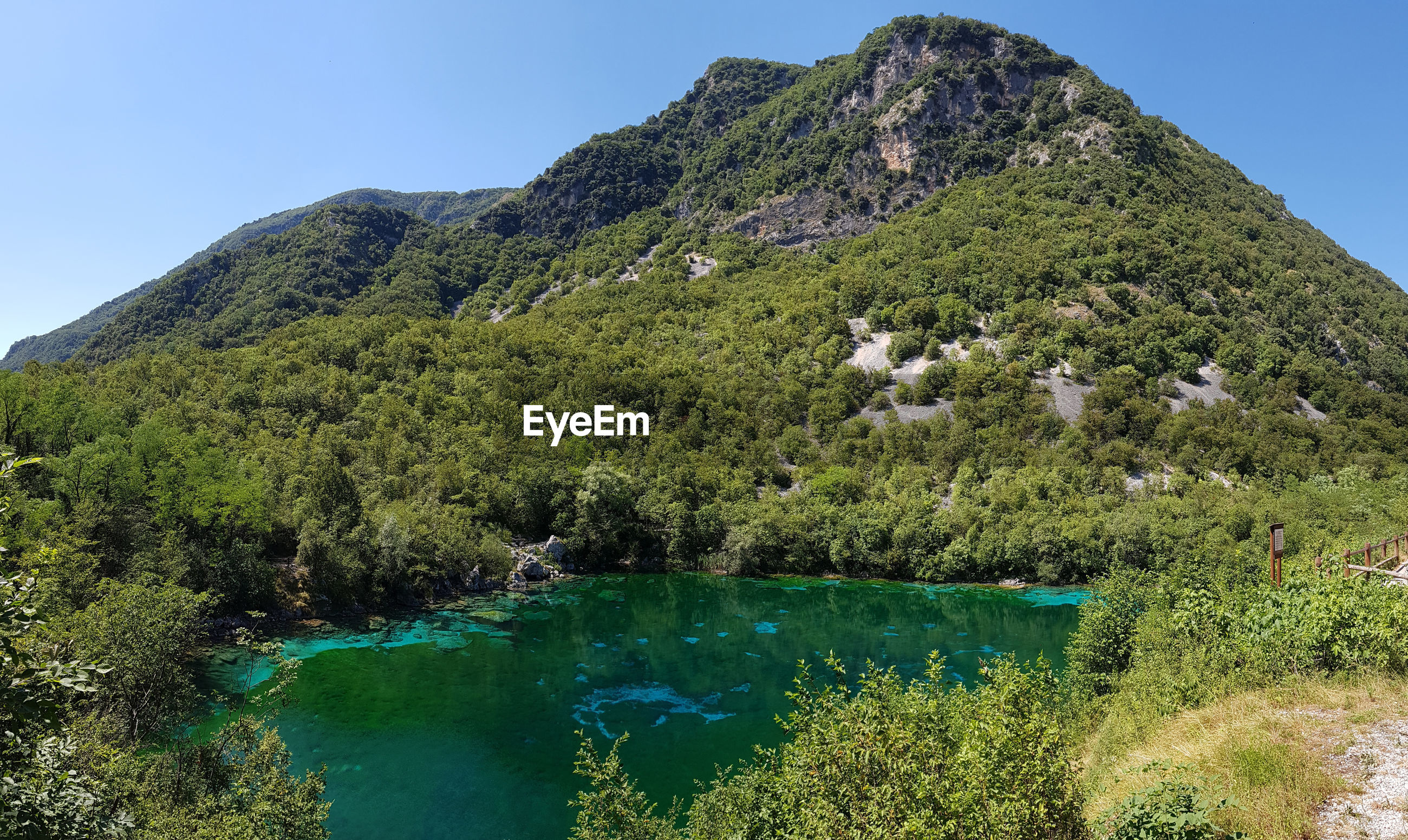 SCENIC VIEW OF LAKE BY TREE MOUNTAINS AGAINST CLEAR SKY