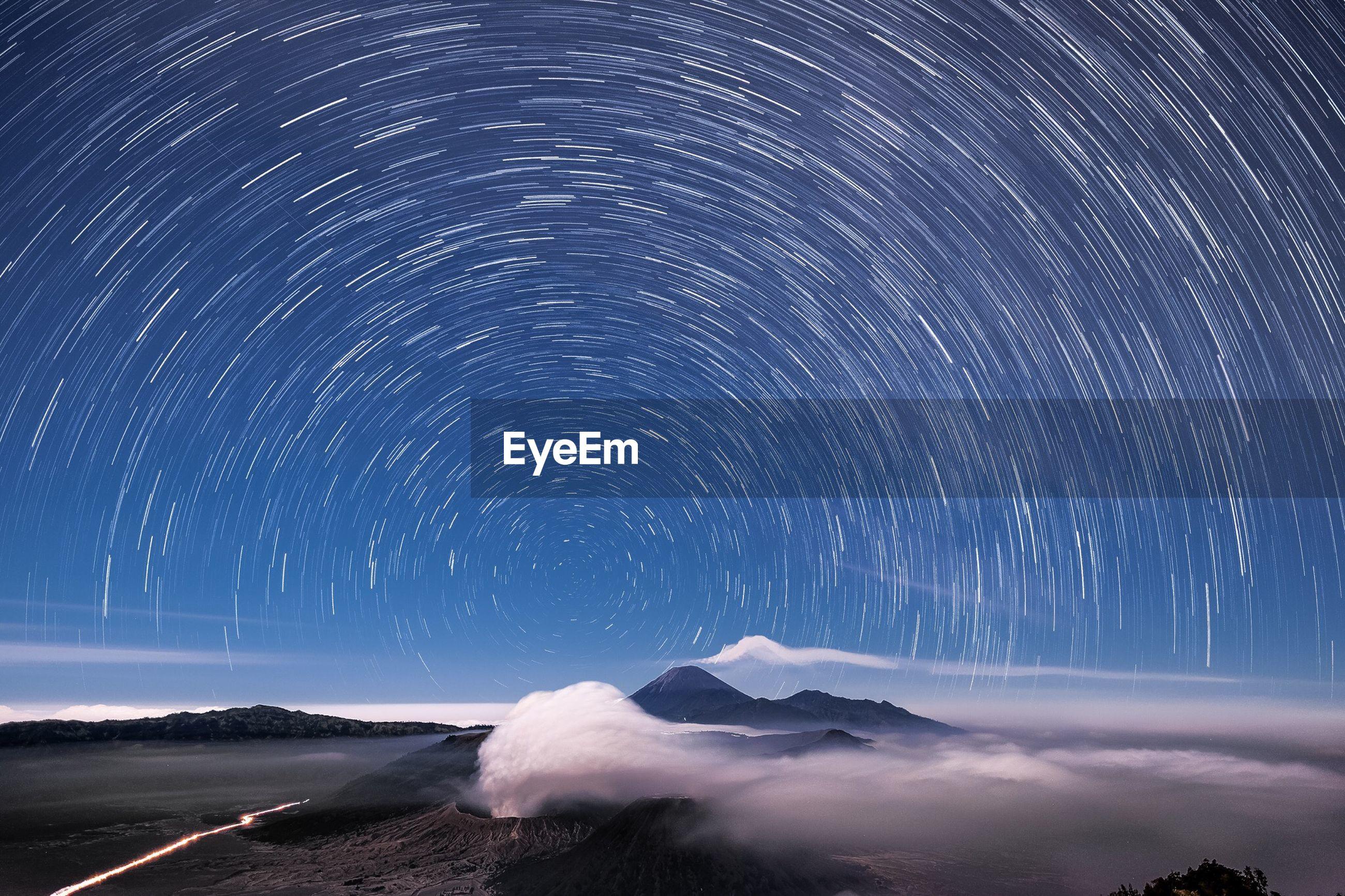 Long exposure image of stars in sky at night