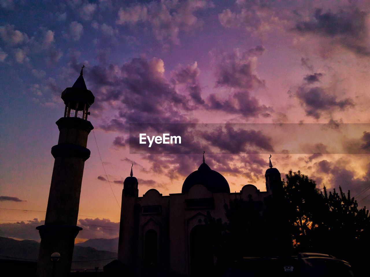 sunset, architecture, built structure, sky, building exterior, religion, place of worship, cloud - sky, spirituality, history, silhouette, travel destinations, dome, outdoors, no people, tree, nature, day