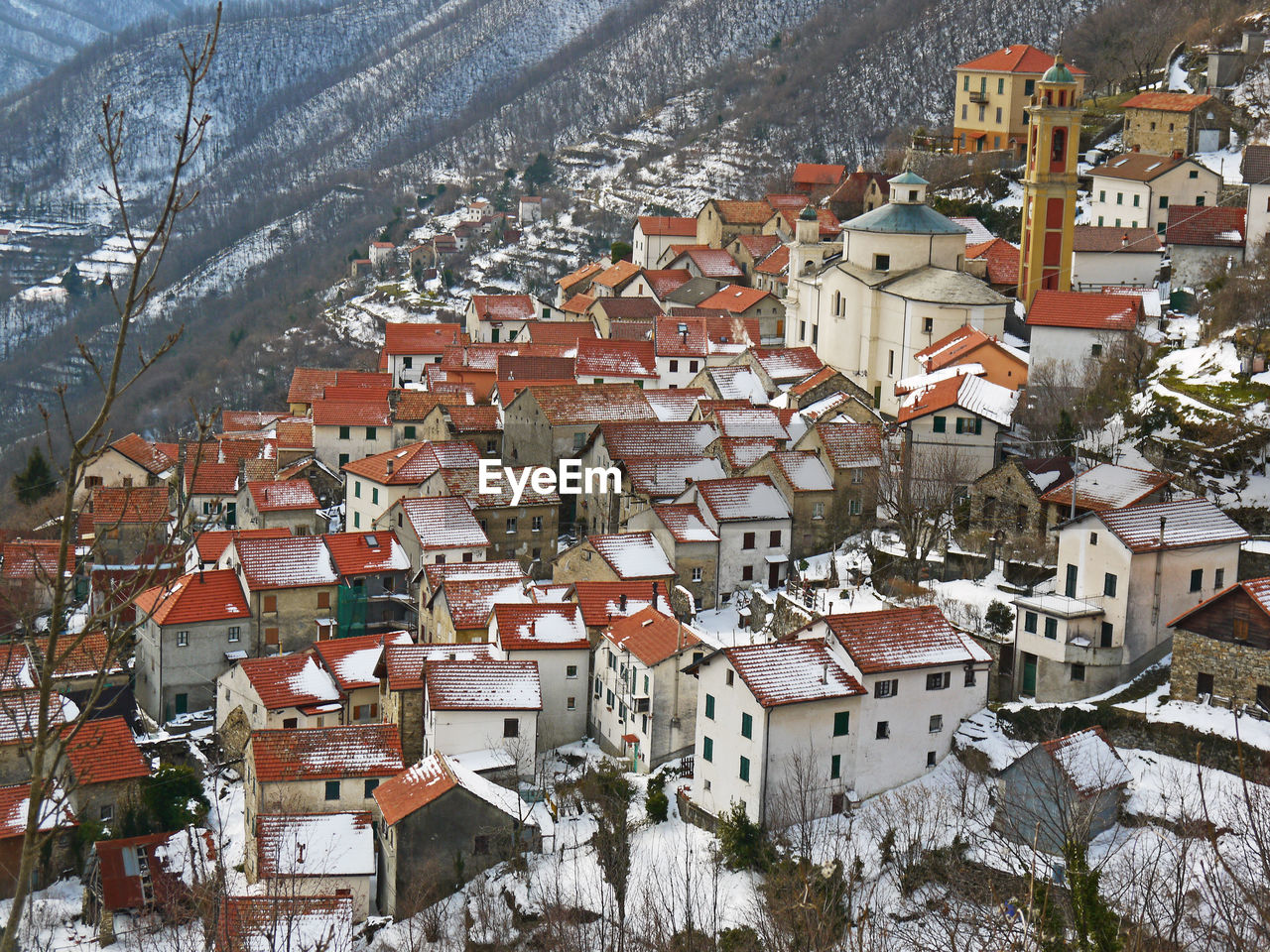 High Angle View Of Village Rooftop During Winter Season