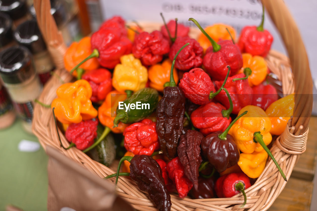 High angle view of vegetables in basket