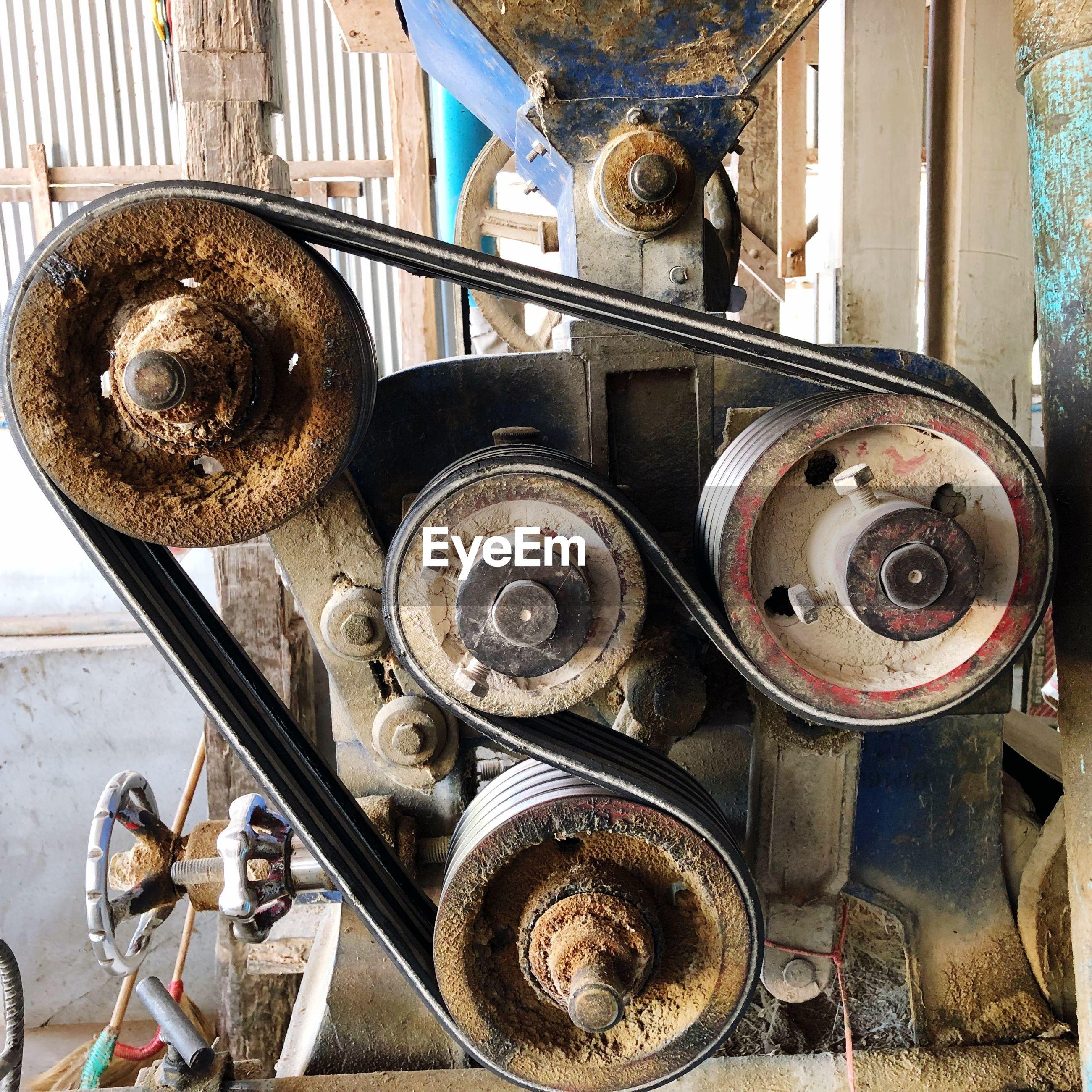 Close-up of rusty machinery