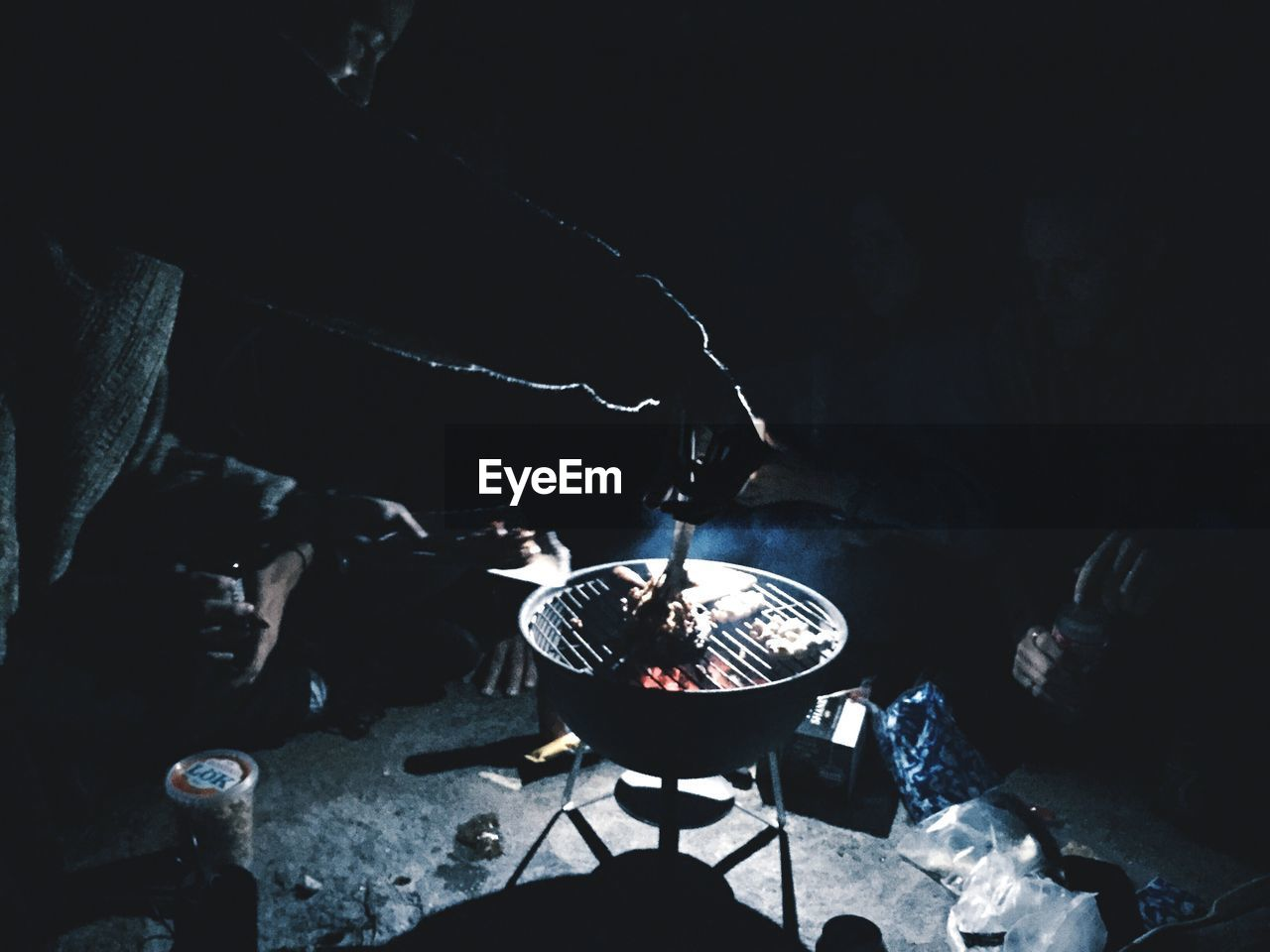 barbecue grill, heat - temperature, smoke - physical structure, burning, preparation, barbecue, night, flame, fire pit, camping, food and drink, bonfire, campfire, outdoors, meat, camping stove, real people, stove, food, close-up