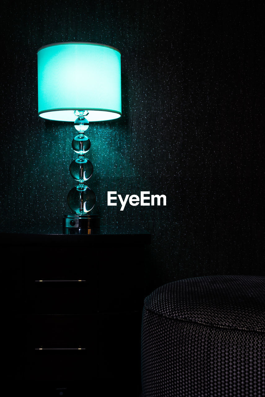 electric lamp, indoors, lighting equipment, illuminated, no people, electricity, lamp shade, table, side table, home interior, close-up, technology, day