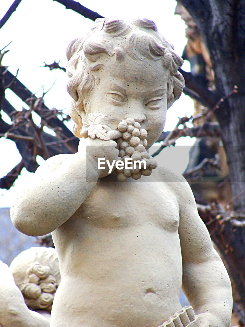 statue, sculpture, human representation, male likeness, art and craft, no people, day, outdoors, marble, tree, close-up