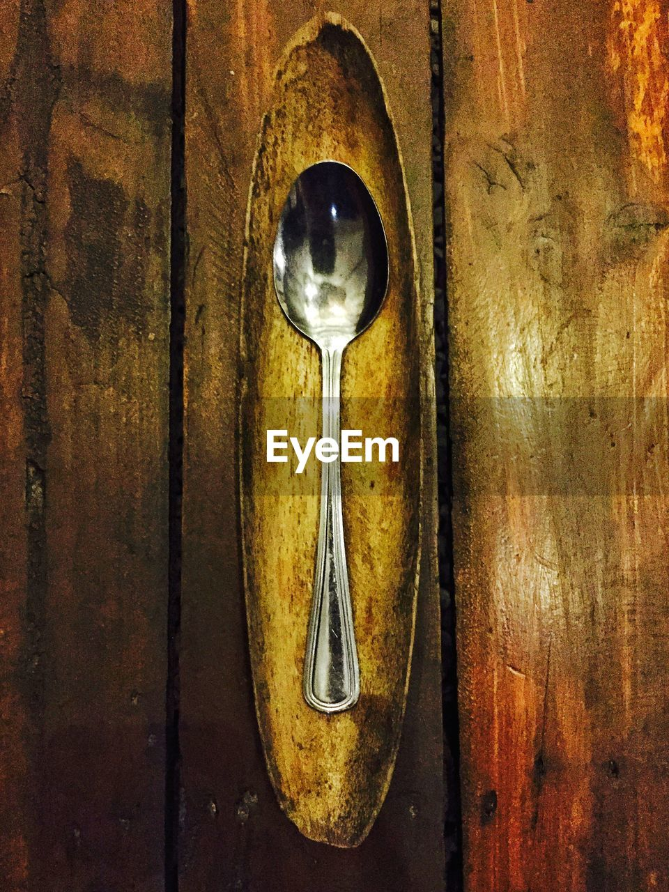 Close-Up High Angle View Of Spoon On Table