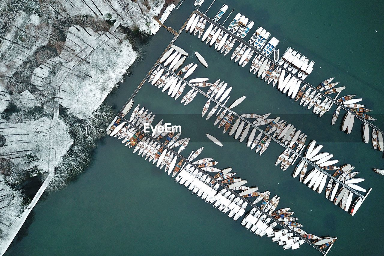 Directly Above Shot Of Boats Moored At Harbor