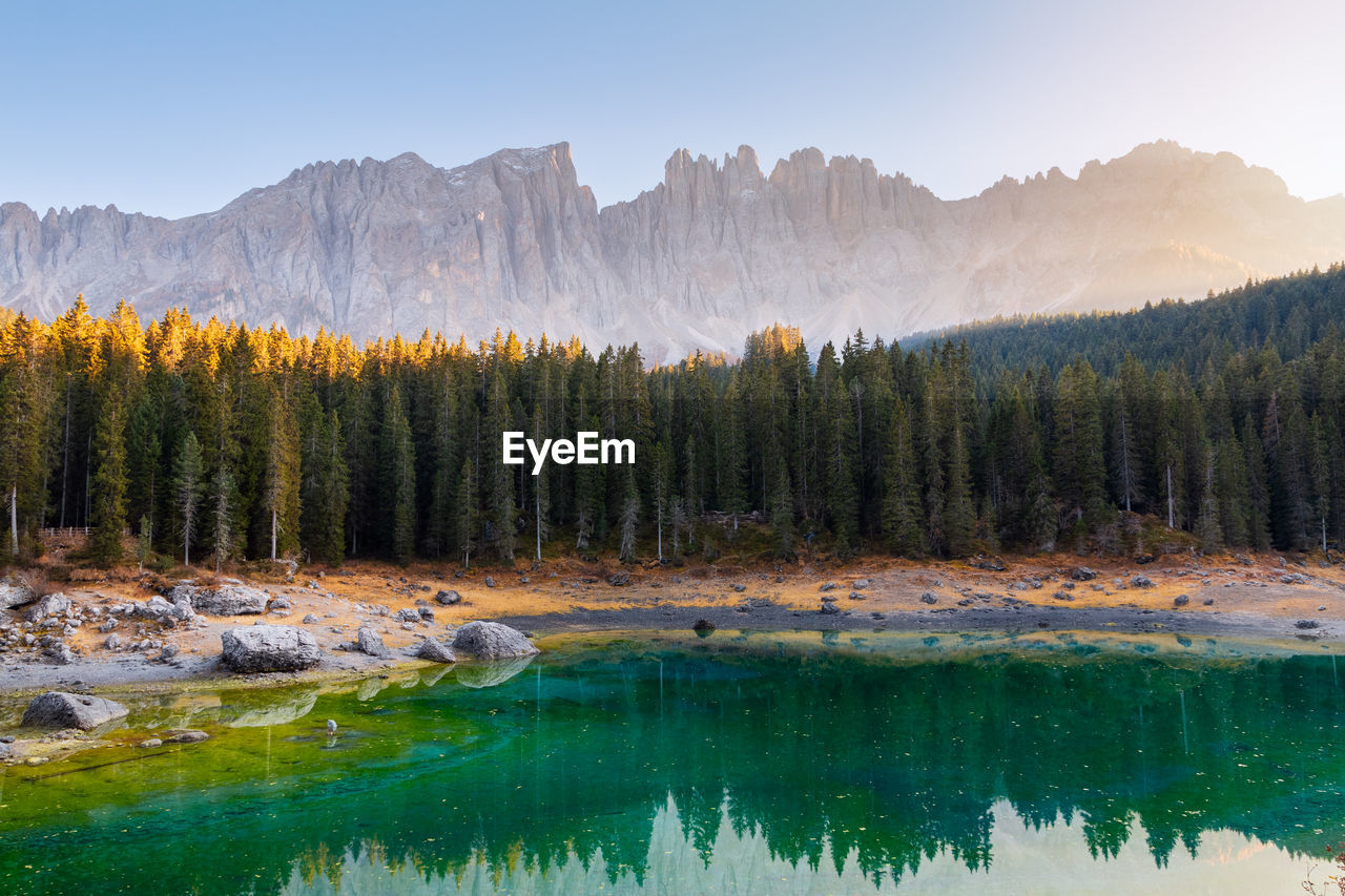 Scenic view of lake in forest against mountains