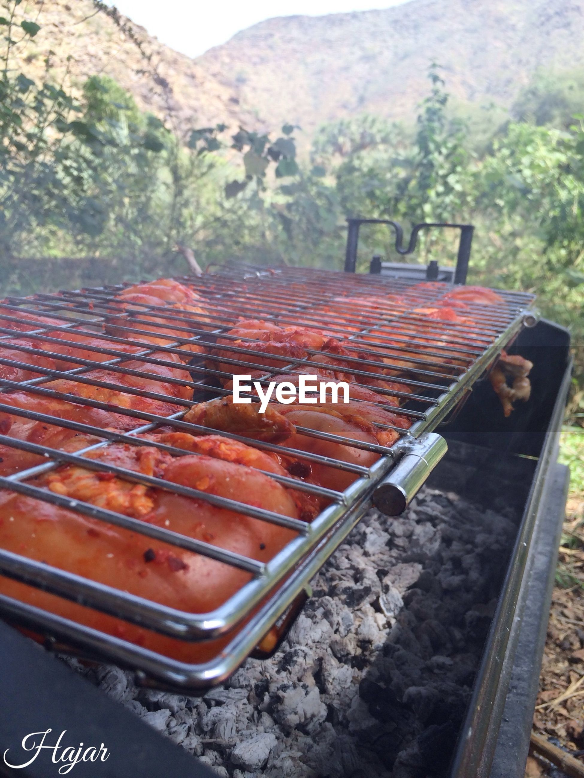 food and drink, food, heat - temperature, day, high angle view, metal, barbecue grill, outdoors, meat, barbecue, grilled, no people, preparation, close-up, cooking, transportation, freshness, container, railroad track, healthy eating