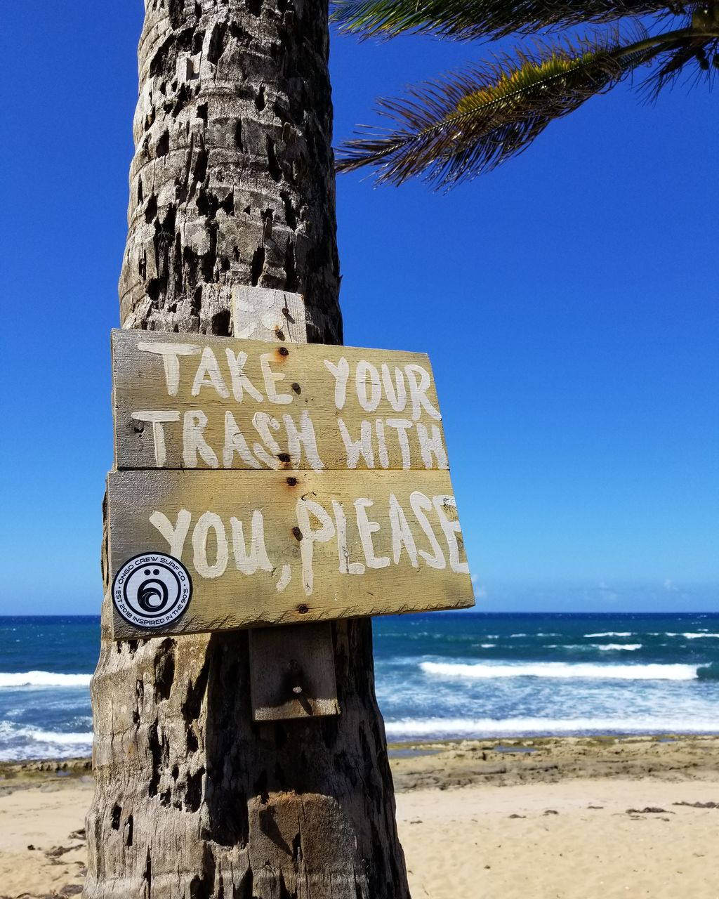 land, sea, water, sky, communication, beach, text, western script, nature, tree, sign, tree trunk, day, horizon over water, trunk, sand, horizon, blue, clear sky, guidance, no people, outdoors